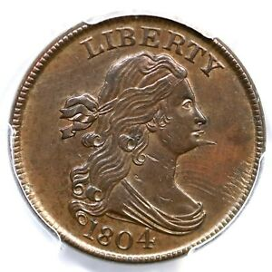 1804 C-6 EDS PCGS MS 62 BN Spiked Chin Draped Bust Half Cent Coin 1/2c