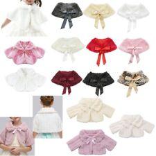 Kids Faux Fur Jacket Shrug Bolero Flower Girls Princess Wedding Cape Shawl Wrap