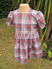 Girls Short-Sleeved Dress, Multi, Check,18-24 Months, New, Handmade