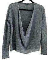 Eileen Fisher Gray Knit Deep V Cowl Neck Knit Sweater Alpaca Wool Blend Size XS