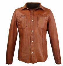 Lederhemd Langarm Echtleder Lammnappaleder Ricano Reverse Shirt braun-cognac S