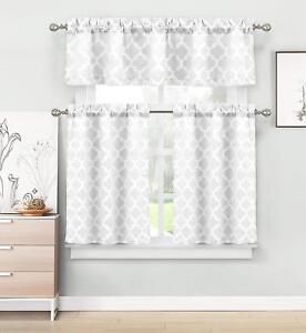 Home Maison Longoria Geometric Kitchen 3 Piece Window Curtain Set White