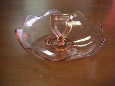 """Pink Depression Glass Bowl with Center Handle 10"""" w x 4 1/4' h Good condition"""