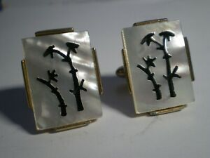 SWANK~VINTAGE CUFFLINKS~CARVED MOTHER OF PEARL & GOLD TONE METAL