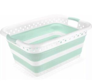 Addis Collapsible Laundry Basket compactly stored away White & Blue Colour