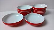 9 Dessertschalen Schüssel H&C Selb Bavaria Heinrich Porzellan rot weiß 60er 70er