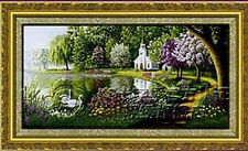 "Finished cross stitch ready for home Deco ""Lake"" 100% handmade"