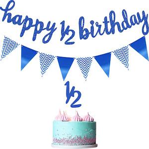 6 Months Banner Happy Birthday Banner Happy 1/2 Birthday Banner Glitter 1/2 Half
