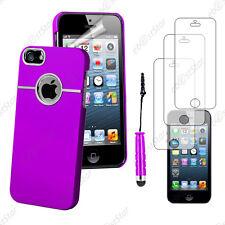 Housse Coque Silver-Line chromé Violet Apple iPhone SE 5S 5+Mini Stylet+3 Films
