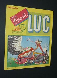 BUVARD 1960-1965 BISCOTTES LUC CHATEAUROUX FABLE LA FONTAINE LOUP ET CIGOGNE