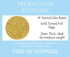 "2 x 8"" Inch Round Gold Cake Board 3mm FREE SHIPPING"