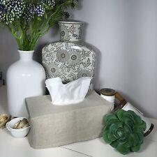 RECTANGLE Linen Tissue Box Cover/Ecru Slip Cover/Home Decor/Bathroom Storage