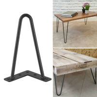 """Solid Hairpin Legs Set of 4 DIY Black Iron Table Chair Legs 8"""" 12"""" 16"""" 28"""" Black"""
