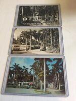 OLLIE TROUT TRAILER PARK Miami, Fla. vintage post cards un-posted, A Lot of 3