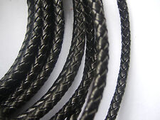 1/5 Yards 5mm Round Genuine/Real Bolo Braided Leather Cord DIY Craft Jewelry