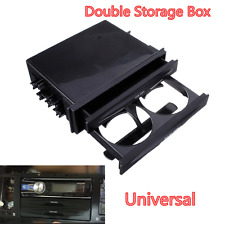 Car Universal Double Din Radio Pocket Kit w/Drink-Cup Holder /Storage Box Black