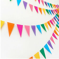 Flags Paper Glitter Gold Bunting Banner Garland Wedding Party Hanging Decor UK