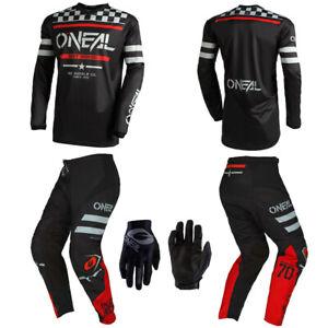 O'Neal Squadron Black Jersey Pants Gloves motocross dirt bike riding package set
