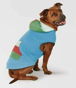 Dog Winter Hoodie Pullover Style Blue w/ Green & Red Trim -Thick & Warm Medium
