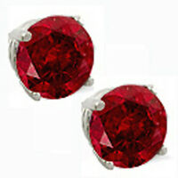 14K GOLD RUBY 2.86 CARAT  ROUND SHAPE STUD PUSH BACK EARRINGS