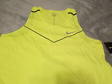 NEW Nike Men's Dri-fit Racing Running Tank Top Neon Yellow Volt XL FREE SHIP