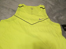 NEW Nike Men's Dri-fit Racing Running Tank Top Neon Yellow Volt LG FREE SHIP