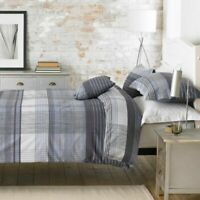 Grey Checked Printed Duvet Cover Set 100% Poly Cotton Single Double King Sizes