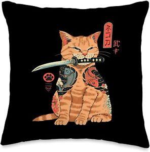 Cats Japanese Samurai Ninja Cat Kawaii Tattoo Spun Polyester Square Pillow