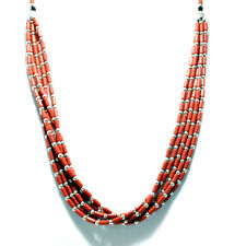 Coral Beads Five Strands With White Metal Necklace Handcrafted Tibetan Jewelry