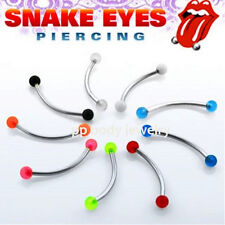 """16G~9/16"""" 316L Steel Curved Barbell with 3mm UV Balls for """"Snake-Eyes"""" Piercing"""