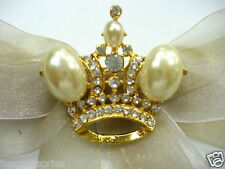 18k Gold Plate Crown Swarovski Element Austrian Crystal Rhinestone Brooch Pin
