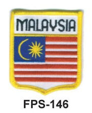 2-1/2'' X 2-3/4 MALAYSIA Flag Embroidered Shield Patch- Officially Licensed