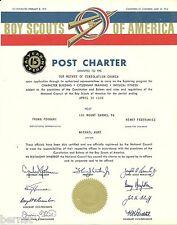 1966 BOY SCOUT - POST CHARTER - POST 161- MOUNT CARMEL, PENNSYLVANIA