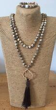 Fashion Gift Set Long Knot Beads Halsband Jasper stone Necklace + Bracelet