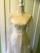 Handmade Mid Century Vintage Lace Satin Wedding Dress Size 0 Victorian Style