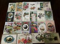 ~Lot of 25~ Pretty ~Flowers & Scenes~Antique Floral Greetings Postcards-h292