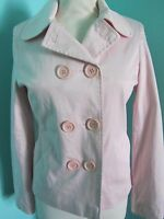 DOUBLE BREASTED PALE PINK JACKET PILOT SIZE 10 FULLY LINED LONG SLEEVED