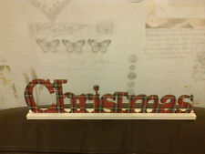 CHRISTMAS SIGN SCOTTISH TARTAN 30CM X 7.5CM HAND MADE WRITING ALL JOINED UP PINE
