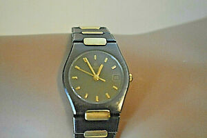 RARE Ladies Concord 18K Gold Gun Metal Black SS Swiss Date Watch w/ Box