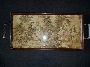 1890 exquisitely detailed Victorian Tapestry framed in wood serving tray