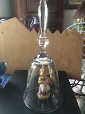 Dolfi CrystaL Bell Wooden Girl HoldIng Something With Blue Hairbow