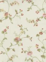 Wallpaper Cottage Mini Rose Trail Floral Vine on Cream Background