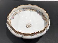 Nippon 3 Footed Bowl with Pink and Blue Flowers- Gold Rim