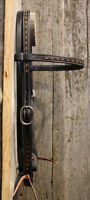 """Western Black Leather 5/"""" Wide BrowBand Style Headstall : Buckstitched"""