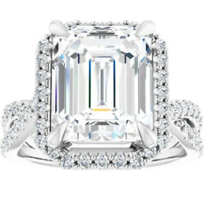 VS 5.75Ct Emerald Cut Moissanite & Diamond Ring in White Yellow or Rose Gold