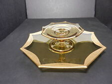 Tiffin Rambler Rose #14196 Cheese Stand & Cracker Plate Lt Yellow Gold Trim