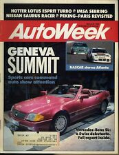 AutoWeek Magazine March 27, 1989 Geneva Summit Sports cars command auto show