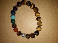 Bracelet 7 chakras œil de tigre en pierres naturelles