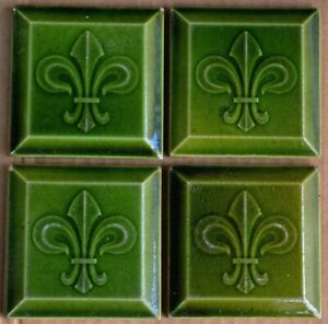 BELGIUM HEMIXEN ANTIQUE ART NOUVEAU MAJOLICA 4-SET TILE C1900
