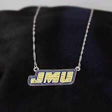 JMU James Madison Crystal Enamel Logo Silver Plated Necklace Officially Licensed